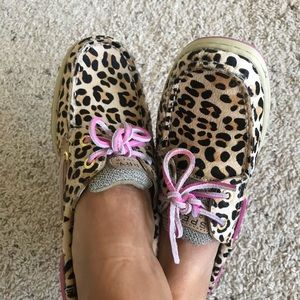 Sperry Bluefish Leopard Pony shoes